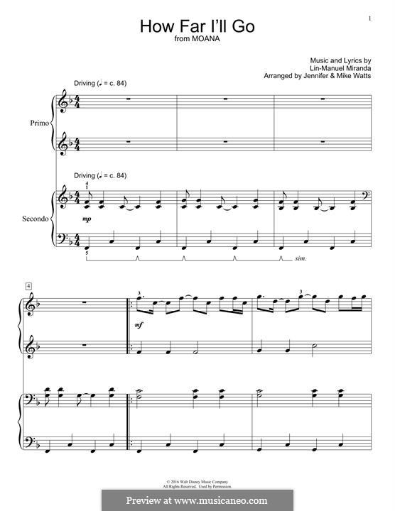 How Far I'll Go (Alessia Cara): para piano de quadro mãos by Lin-Manuel Miranda