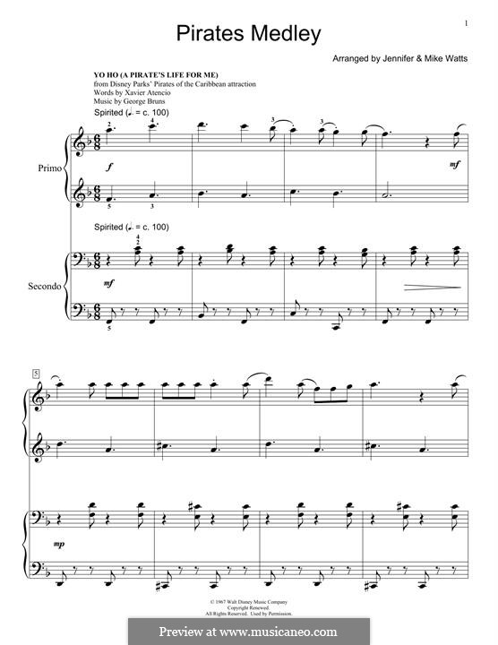 He's a Pirate (from Pirates of the Caribbean: The Curse of the Black Pearl): para piano de quadro mãos by Klaus Badelt