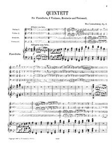 Piano Quintet in B Flat Major, Op.2: Partitura completa by Max Lewandowsky