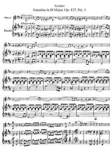 Sonatina for Violin and Piano No.1 in D Major, D.384 Op.137: partitura, parte solo by Franz Schubert