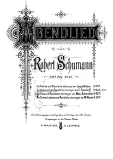 Twelve Pieces for Piano Four Hands, Op.85: No.12 Evening Song, for cello and piano – score, solo part by Robert Schumann
