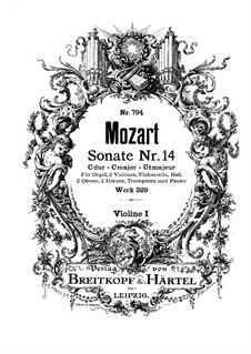Church Sonata for Orchestra No.16 in C Major, K.329 (317a): violino parte I by Wolfgang Amadeus Mozart