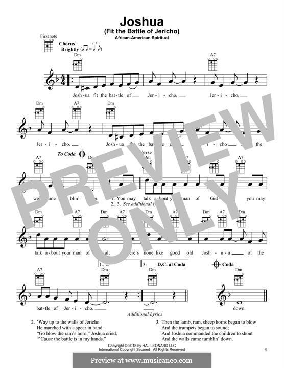 Joshua Fit de Battle ob Jericho (Joshua Fit the Battle): para ukulele by folklore
