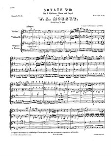 Church Sonata for Two Violins, Organ and Basso Continuo No.11 in D Major, K.245: Partitura completa by Wolfgang Amadeus Mozart