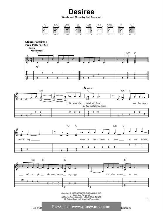 Desiree: Para Guitarra by Neil Diamond