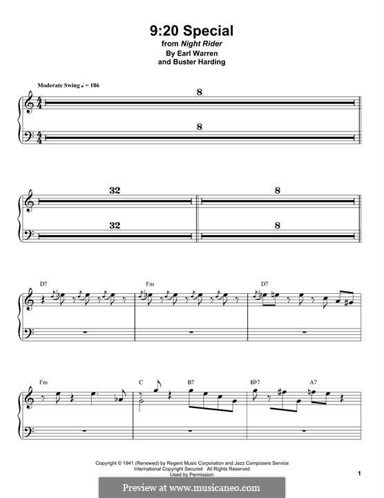 9:20 Special (Count Basie): Para Piano by Earl Warren