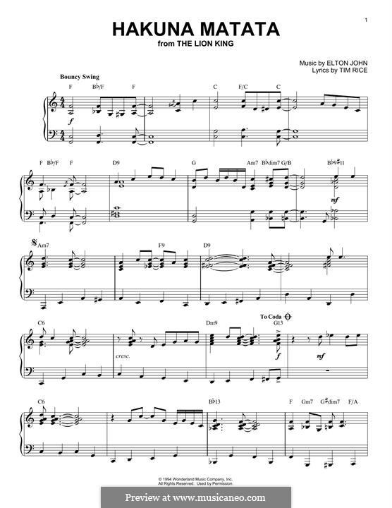 Hakuna Matata (from The Lion King): For piano (jazz version) by Elton John