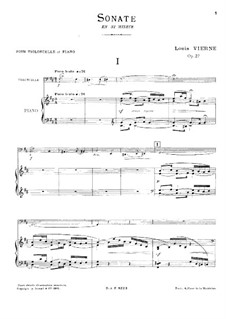 Sonata for Cello and Piano in B Minor, Op.27: Score by Louis Vierne