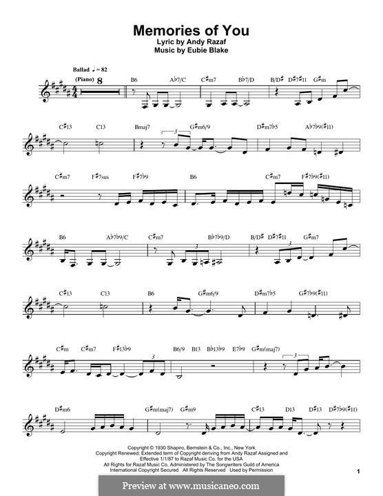 Memories of You: para clarinete by Eubie Blake