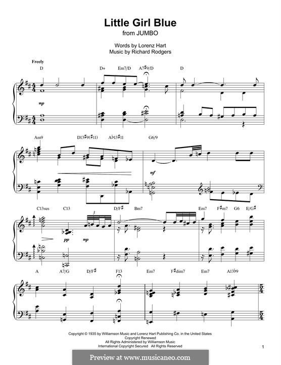 Little Girl Blue: For piano (Oscar Peterson) by Richard Rodgers