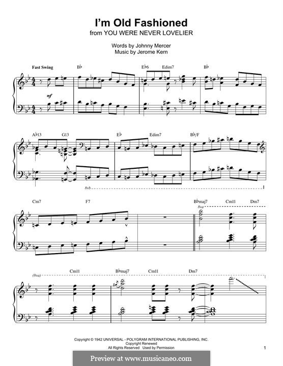 I'm Old Fashioned: For piano (Oscar Peterson) by Jerome Kern
