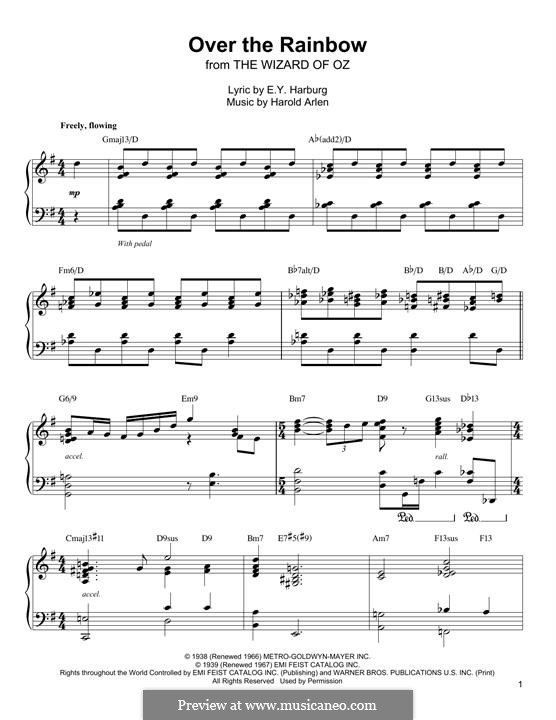 Over the Rainbow (from The Wizard of Oz): Para Piano by Harold Arlen