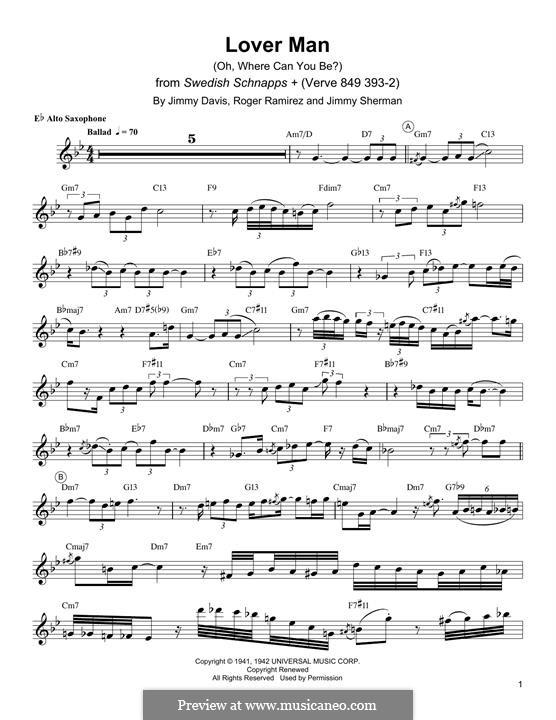Lover Man (Oh, Where Can You Be?): para Saxofone Alto by Jimmie Davis, Jimmy Sherman, Roger Ramirez