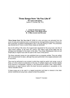 Three Songs from 'As You Like It', Op.707: Three Songs from 'As You Like It' by Carson Cooman