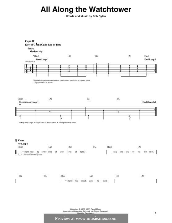 All Along the Watchtower: For guitar with tab (The Jimi Hendrix Experience) by Bob Dylan