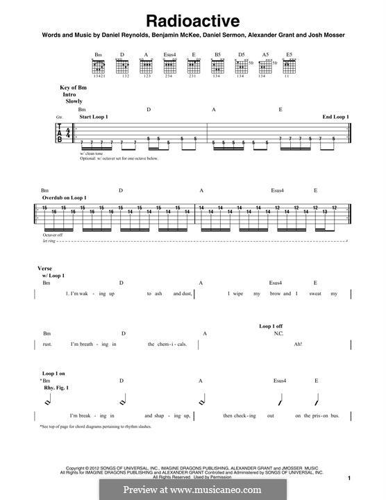Radioactive (Imagine Dragons): Para guitarra com guia by Alexander Grant, Benjamin McKee, Daniel Reynolds, Daniel Sermon, Josh Mosser