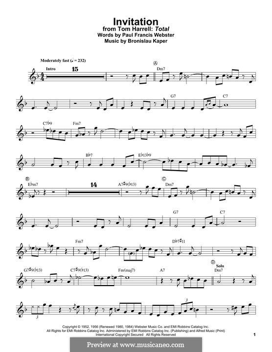Invitation: para trompeta by Bronislau Kaper