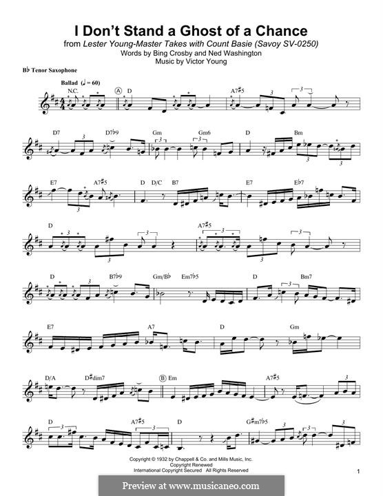 I Don't Stand a Ghost of a Chance: para saxofone tenor by Victor Young