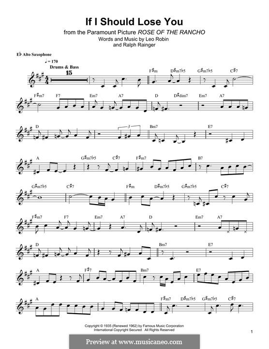 If I Should Lose You (Phineas Newborn): para Saxofone Alto by Leo Robin, Ralph Rainger