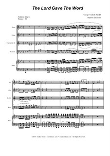 No.37 The Lord Gave the Word: Para quarteto de sopro by Georg Friedrich Händel