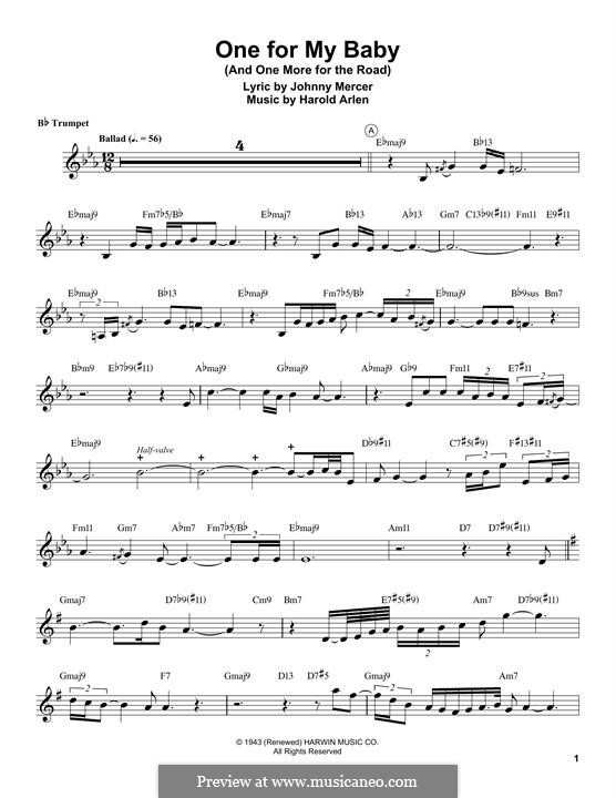 One for My Baby (And One More for the Road): para trompeta by Harold Arlen