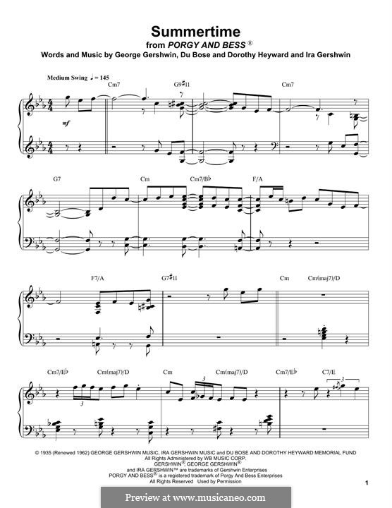 Summertime: For piano (Oscar Peterson) by George Gershwin