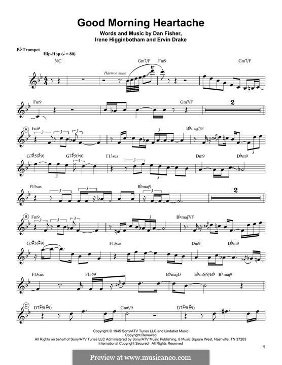 Good Morning Heartache (Billie Holiday): For trumpet (Chris Botti) by Daniel Fisher, Ervin Drake, Irene Higginbotham