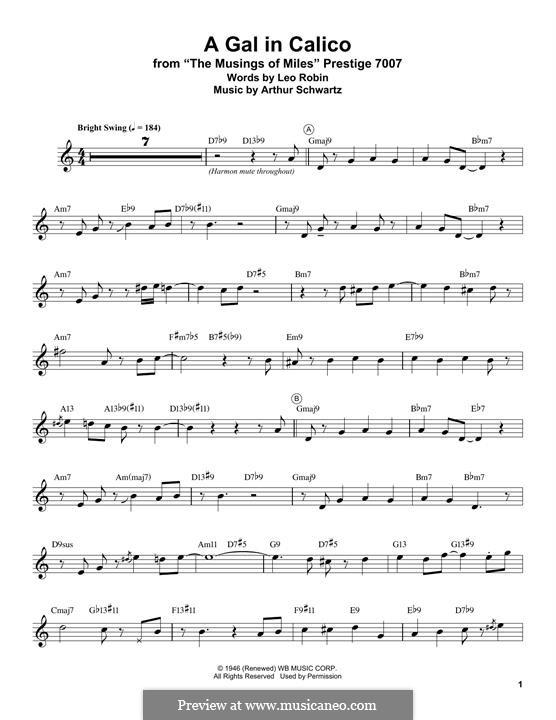 A Gal in Calico (Bing Crosby): For trumpet (Miles Davis) by Arthur Schwartz