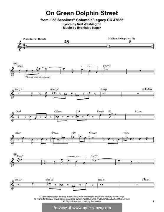 On Green Dolphin Street: para trompeta by Bronislau Kaper