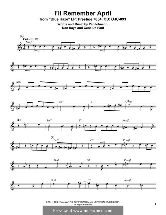 I'll Remember April (Woody Herman): para trompeta by Don Raye, Gene de Paul, Patricia Johnson