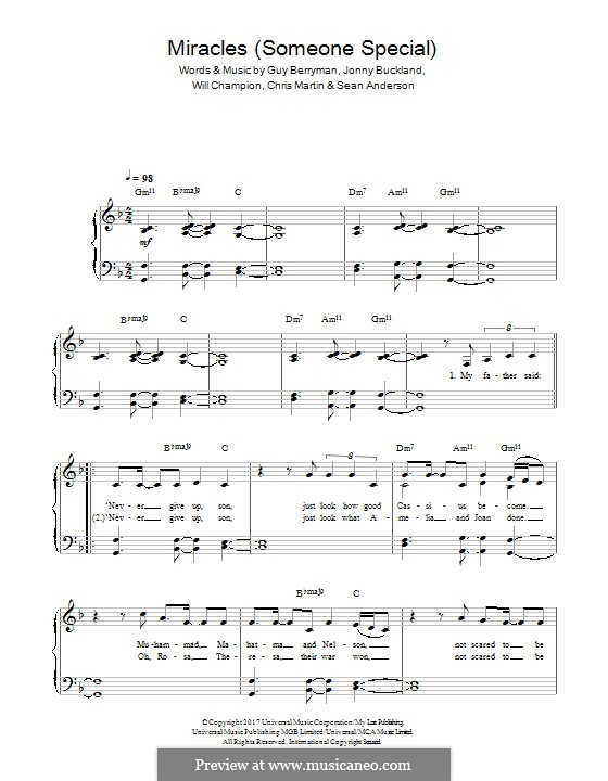 Miracles (Someone Special): Para Piano by Chris Martin, Guy Berryman, Jonny Buckland, Will Champion