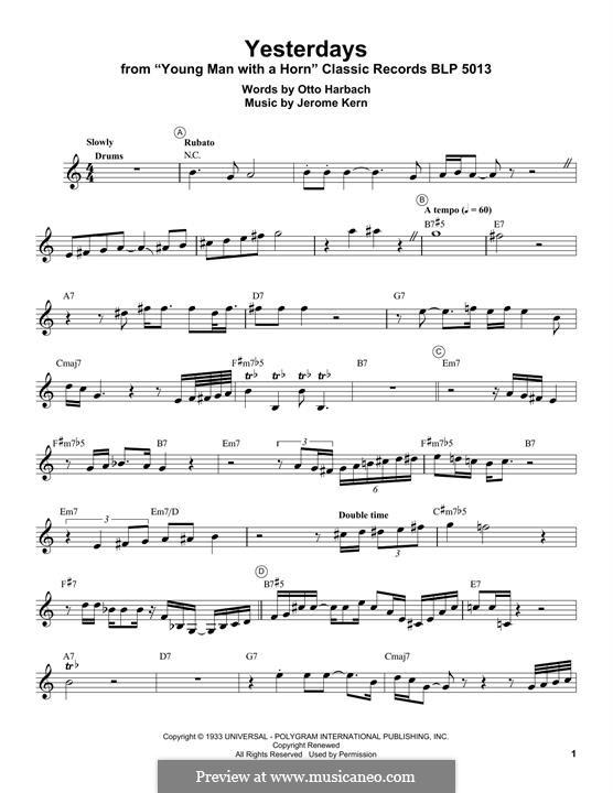 Yesterdays: para trompeta by Jerome Kern