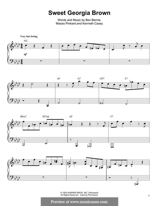 Sweet Georgia Brown: For piano (Oscar Peterson) by Maceo Pinkard, Kenneth Casey