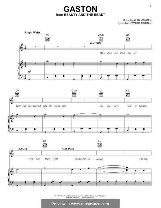 Gaston (from Beauty and the Beast): Para vocais e piano (ou Guitarra) by Alan Menken