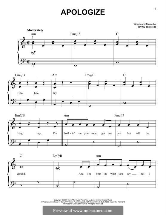 Apologize (OneRepublic): Para Piano by Ryan B Tedder