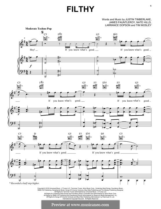 Filthy: Para vocais e piano (ou Guitarra) by James Fauntleroy II, Justin Timberlake, Floyd Nathaniel Hills, Timbaland, Larrance Dopson