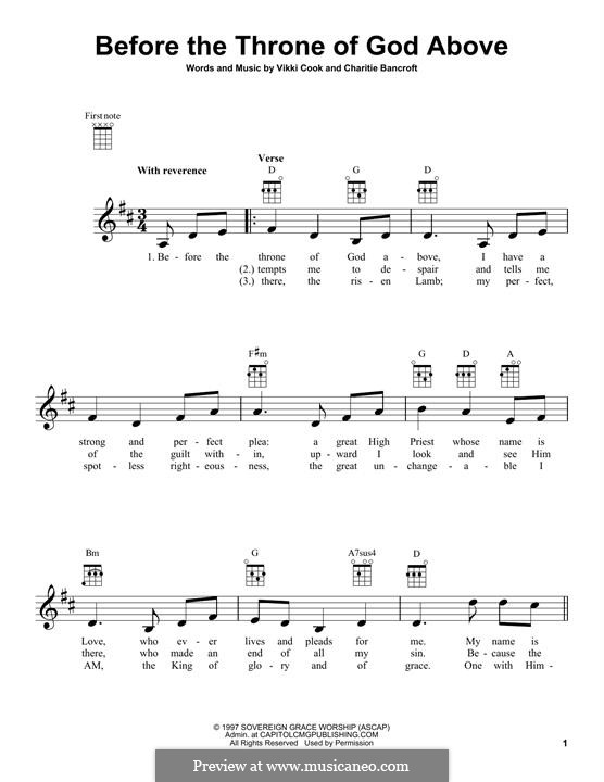 Before the Throne of God Above: para ukulele by Vickie Cook