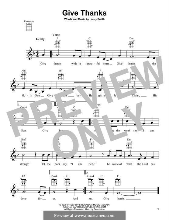 Give Thanks: para ukulele by Henry Smith
