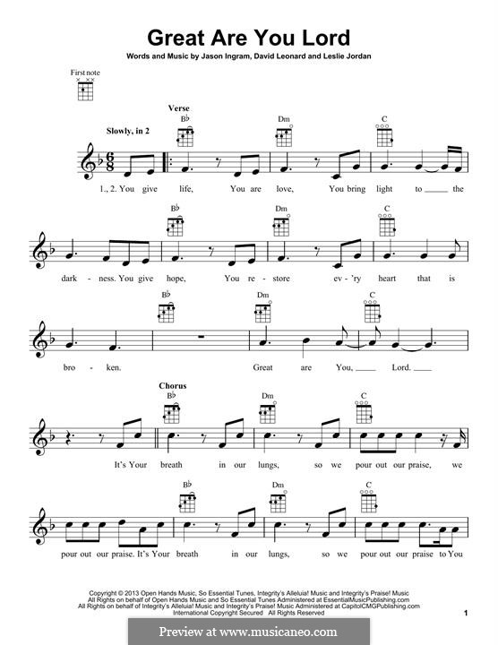 Great are You Lord: para ukulele by Jason David Ingram, Leslie Jordan, David Leonard