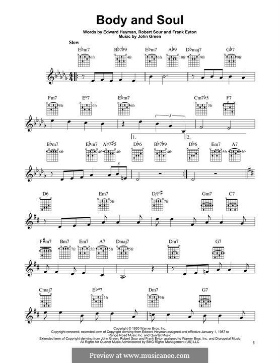 Body and Soul: Para guitarra com guia by John W. Green