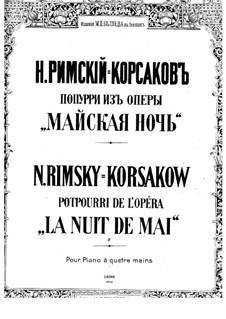 May Night: potpourri, para piano de quatro mãos by Nikolai Rimsky-Korsakov