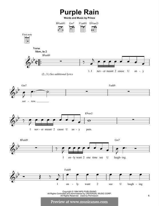 Purple Rain: para ukulele by Prince
