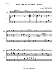 Variations on J'attends secours: para viola e piano by Claudin de Sermisy