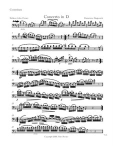Concerto for Double Bass and Piano in D Major: parte Solo by Domenico Dragonetti