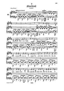 No.7 Abschied (Farewell): Para vocais e piano by Franz Schubert