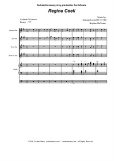 Regina Coeli: para quarteto de saxofone by Antonio Lotti