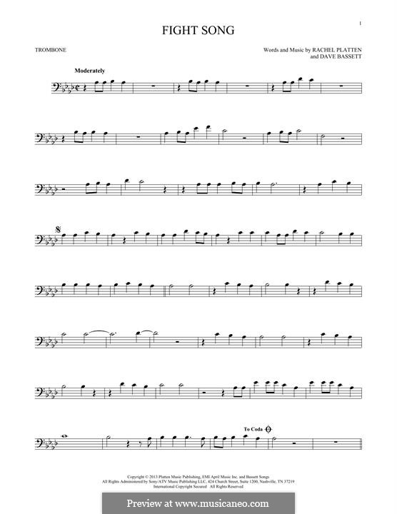Fight Song: para trombone by Dave Bassett, Rachel Platten