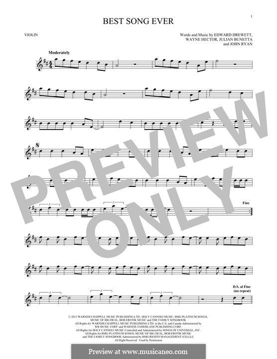 Best Song Ever (One Direction): para violino by Ed Drewett, Julian Bunetta, Wayne Anthony Hector, John Henry Ryan