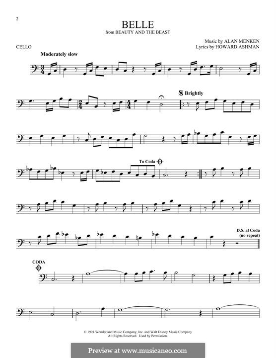 Belle (from Beauty and the Beast): para violoncelo by Alan Menken