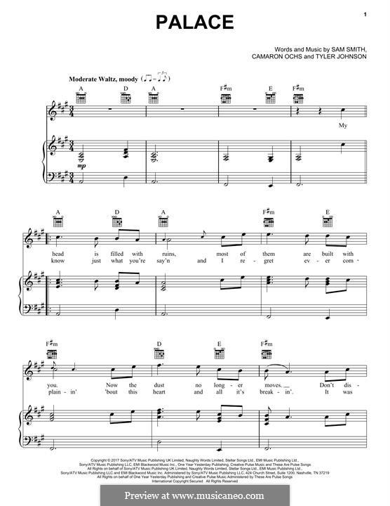 Palace: Para vocais e piano (ou Guitarra) by Samuel Smith, Camaron Ochs, Tyler Sam Johnson